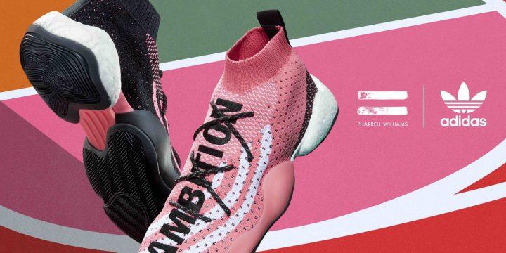 「adidas Originals = Pharrell Williams」の新作スニーカーはバスケットボールシューズをモチーフにし大胆なピンクが目印!
