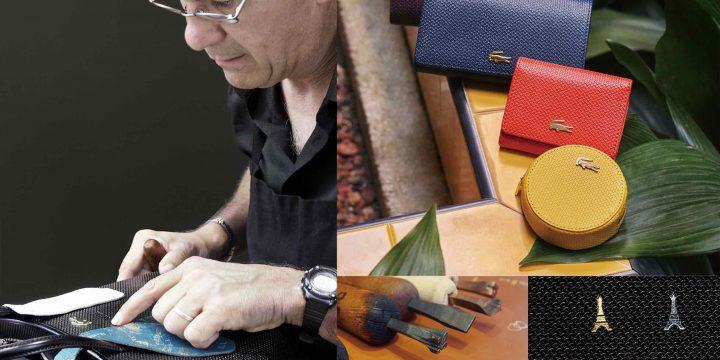 「LACOSTE」のレザーアイテム、フランスの熟練クラフトマンによる箔押し刻印オーダー会