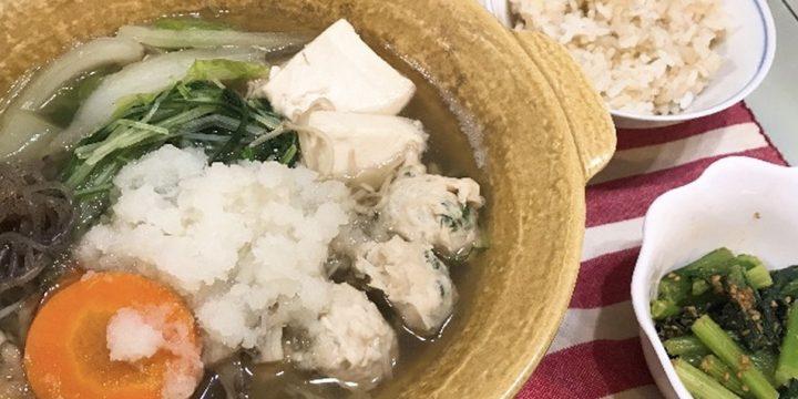 <第26回>みぞれ鶏だんご鍋【管理栄養士作成・監修レシピ】